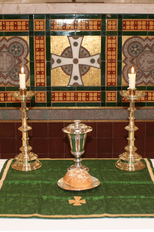 A picture of an altar set up for Holy Communion