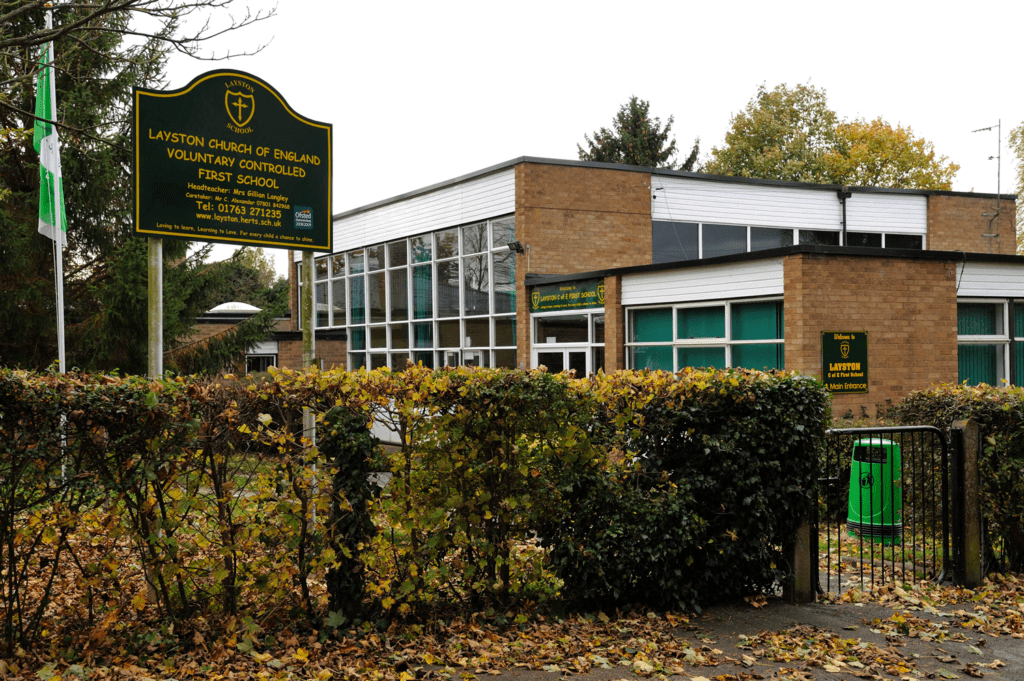 A picture of the entrance of Layston Church of England First School.