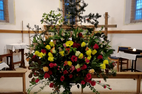 A picture of the floral display from the Service of Memories.