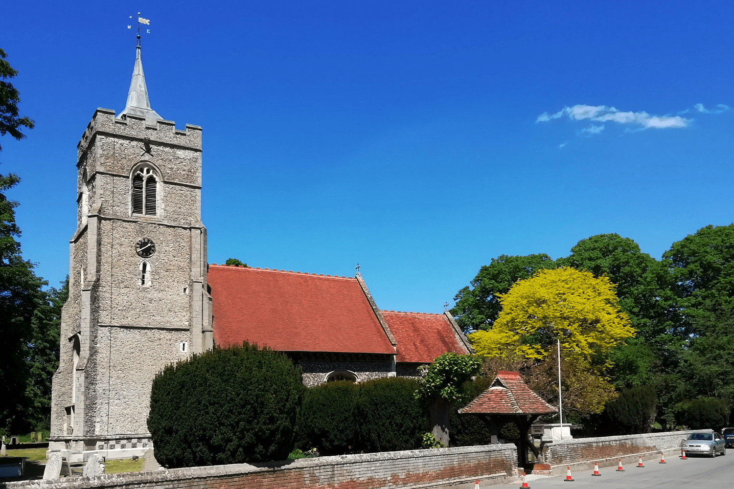 A picture of the front exterior of St. Mary's the Virgin Church, Westmill.