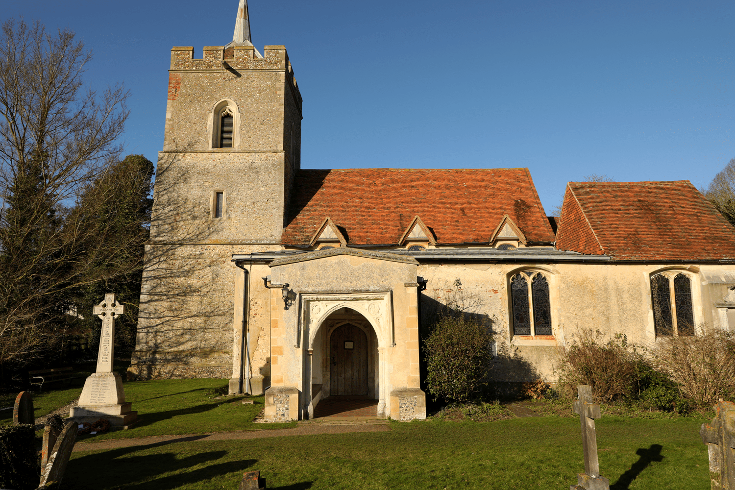 A picture of the front entrance of St. Mary's Church, Aspenden.