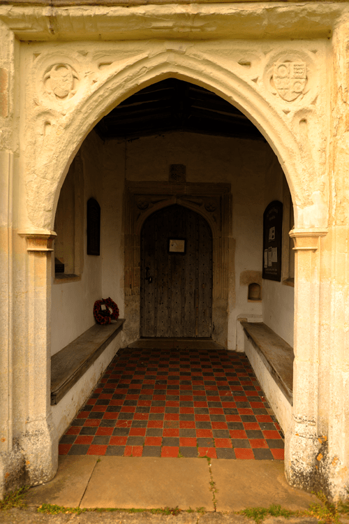 A picture of the doorway of St. Mary's Church, Aspenden.