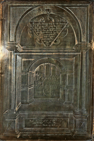 A picture of the brass of Alexander Strange in St Peter's Church, Buntingford.