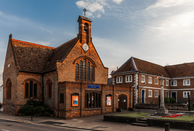 A picture of the front entrance to St. Peter's Church, Buntingford in the present day.