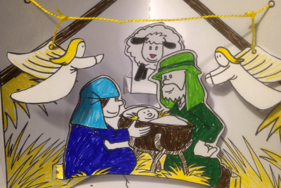 A picture of a Little Sparks' Nativity scene craft activity.