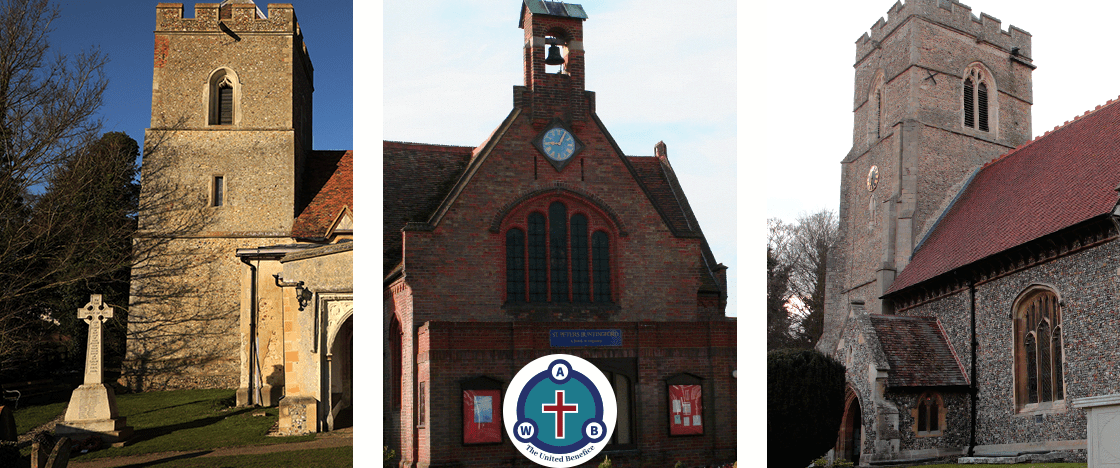 A triptych of images of the United Benefice churches of Aspenden, Buntingford and Westmill with the United Benefice Logo.